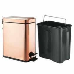 mDesign 5 Liter Rectangular Small Steel Step Trash Can Waste