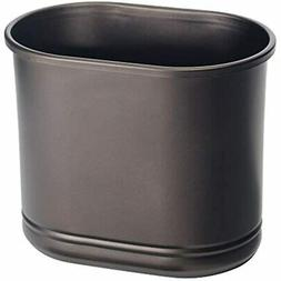 mDesign Slim Oval Metal Trash Can, Small Wastebasket, Garbag