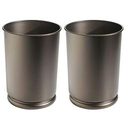mDesign Round Metal Tall Trash Can Wastebasket, Garbage Cont