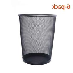 DESIGNA Mesh Round Wastebasket, Office Trash Can, Black, 6-P