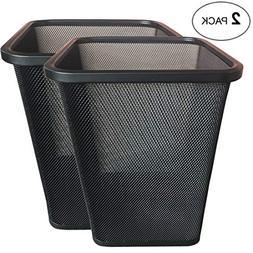 AMENITIES DEPOT Mesh Wastebasket Steel Trash Can Dustbin Gar