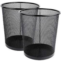 Greenco Mesh Wastebasket Trash Can, 4.5 Gallon, Black, 2 Pac
