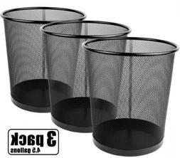 Greenco Mesh Wastebasket Trash Can, 4.5 Gallon, Black, 3 Pac