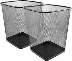 Greenco Mesh Wastebasket Trash Can, Square, 6 Gallon, Silver