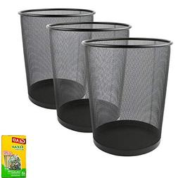 Greenco Mesh Wastebasket Trash Can, 6 Gallon, Black, 3 Pack