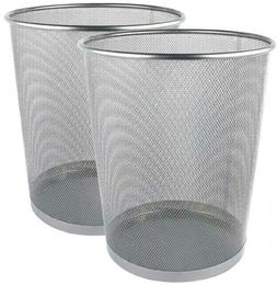 Greenco Mesh Wastebasket Trash Can, 6 Gallon, Silver, 3 Pack