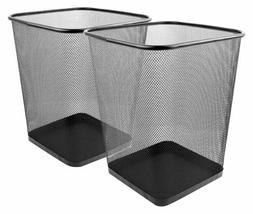 Mesh Wastebasket Trash Can Square 6 Gallon Black 2 Pack Cans