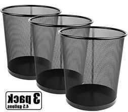 Greenco Mesh Wastebasket Trash Can, 4.5 Gallon, Black, 3 Pac