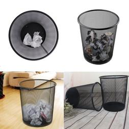 Metal Black Mesh Wastebasket Round Trash Can Recycling Bin O