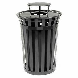 36 Gallon Outdoor Metal Slatted Trash Receptacle with Rain B