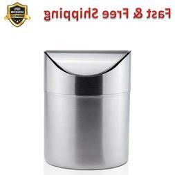 Mini Trash Bin Can Matte Stainless Steel Office Kitchen Bath