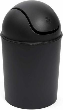 Umbra Mini Trash Can Gloss Black, 5L Swing Lid Countertop Wa
