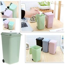 Mini Waste Bin Desktop Garbage Basket Table Home Roll Swing