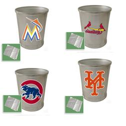 MLB TRASH CAN ALUMINUM ROUND OFFICE BATHROOM MAN CAVE BASEBA