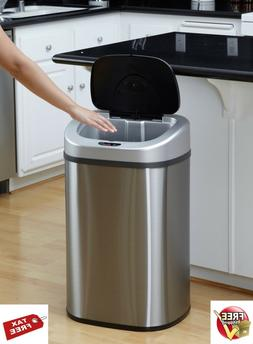 Motion Sensor Trash Can Stainless Steel Touch Free Lid 21 Ga