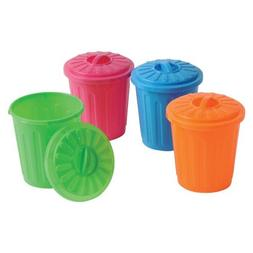 Set of 12 Neon Mini Garbage Cans- Party Favors