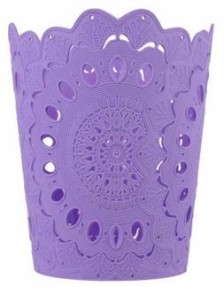 NEW 3 pc Wastebasket Hollow Pattern Solid Purple Paper Baske