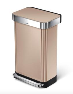 NEW Simplehuman 45 L 12 Gallon Trash Can Rose Gold Stainless