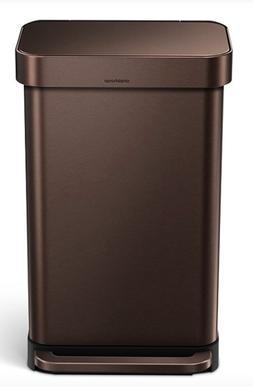 NEW Simplehuman 45L 12 Gallon Trash Can Dark Bronze Stainles