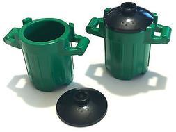 *NEW* 5 Pieces Lego Trash Can Dust Bin GREEN 2x2x2 with BLAC