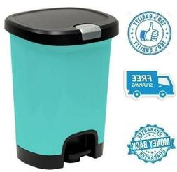 New 7gal Blue Step On Trash Can Wastebasket Garbage Plastic