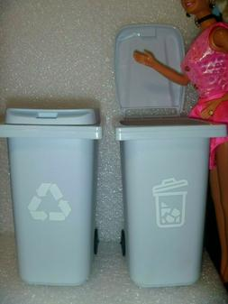 """"""" New """" Barbie Trash /Garbage/ Recycle Cans With Lid on Whee"""