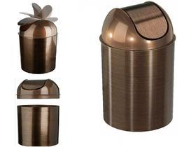 NEW Bronze Trash Can Garbage Wastebasket Waste Basket w/Lid