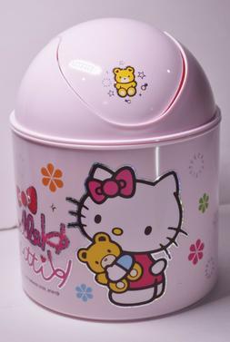 New Hello Kitty/Gold Bear Mini Pink Trash Can Plastic Bin De