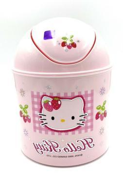 "New Sanrio Hello Kitty Pink Plastic Mini Trash Can Bin 7"" Wa"