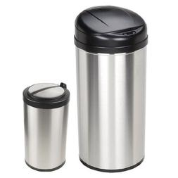 NINESTARS Set of 2 Trash Cans: 13 Gallon & 3.1 Gallon Stainl