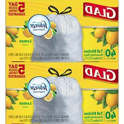 Glad Odorshield Tall Kitchen Drawstring Trash Bags, Lemon, 1