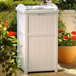 Outdoor Resin Trash Can Garbage Waste Bin with Lid Patio Dec