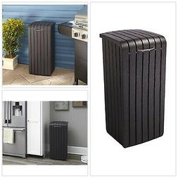 Outdoor Trash Can 30 Gallon Resin Wood Waste Bin Removable R