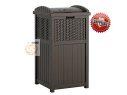 outdoor trash hideaway resin wicker patio garden