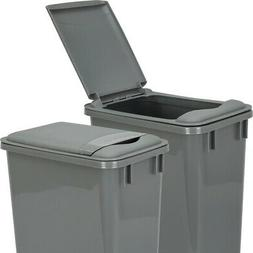 Pack of 2- Gray- 35 Quart Trash Cans with matching lids