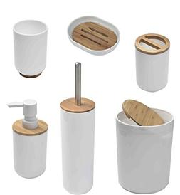 EVIDECO Padang Bamboo Bathroom Accessory Set, White
