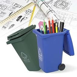 Pen Holder, ixaer Mini Curbside Desk Trash & Recycle Can Gar