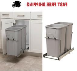 Plastic 27 qt Pull Out Trash Can Kitchen Garbage Bin Basket