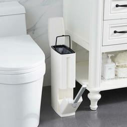 Plastic Home Bathroom Trash Can with Toilet Brush Waste Dust