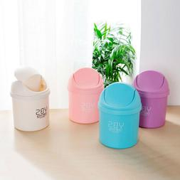 Plastic Mini Desktop Trash Can with Swing Lid for Living Roo