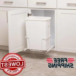 Plastic Pull Out Trash Can White 35-Quart Bin Kitchen Pantry