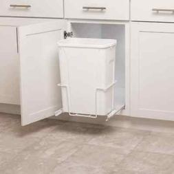 Plastic Pull Out Trash Can White 35 Qrt Full Access Basket W