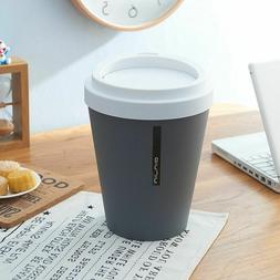 Plastic Small Waste Bins Coffee Cup Shape Rolling Cover Tras