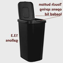 Plastic Waste Basket with Touch-Lid 13 Gallon Garbage Litter