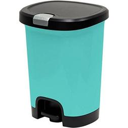 7-Gallon Pool Blue Textured Step-On Trash Can With Lid Lock