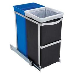 Pull Out Blue Recycle Bin Black Trash Can Slides Under Kitch