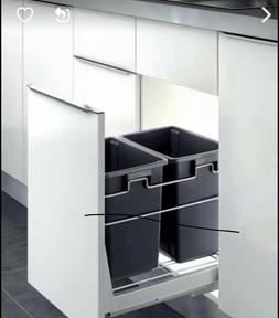 PULL OUT KITCHEN CABINET DOUBLE TRASH BIN DOOR MOUNT SOFT CL