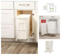 Pull Out Trash Can Plastic Waste Bin Under Cabinet White 35-