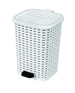 1.6-Gal. Rattan Compact Trash Bin Color: White