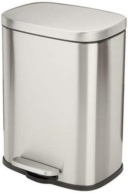 AmazonBasics Rectangle Soft-Close Trash Can - 12L, Satin Nic
